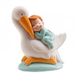 Figurine Cigogne endormie Bleue 10 cm