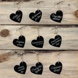 10 Étiquettes Coeur avec Corde