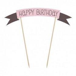 Mini Pancarte pour Gâteau d'Anniversaire Happy Birthday de 19 cm